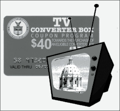 Even TVs adorned with old-fashioned antennas can keep working under the conversion to digital airwaves. Provided the TV set has the proper plug-in, a converter box will upgrade the signal. A federal government program offers each household up to two $40 coupons for converter boxes. (Illustration by Paul Battaglia)