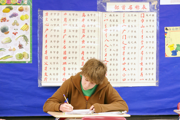 Will Robertson, a sophomore at Highland Park Senior High in St. Paul, works on a worksheet during the Chinese III class. (Photo by Tom Olmscheid)