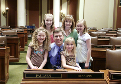 Surrounded by his wife and children, Rep. Erik Paulsen is running to represent the 3rd congressional district. (Photo by Sarah Stacke)