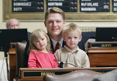 Rep. John Berns is stepping down after two years in the House to spend more time with his family, including his 2-year-old daughter, Katie, and 4-year-old son, Lincoln. (Photo by Sarah Stacke)