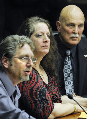 K.K. Forss, from left, Joni Whiting and Dr. George Wagoner testify before the House Health Care and Human Services Policy and Oversight  Committee Feb. 18 in support of a bill legalizing medical marijuana. (Photo by Andrew VonBank)