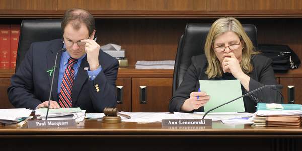 Rep. Paul Marquart, chairman of the House Property and Local Sales Tax Division, and Rep. Ann Lenczewski, chairwoman of the House Taxes 