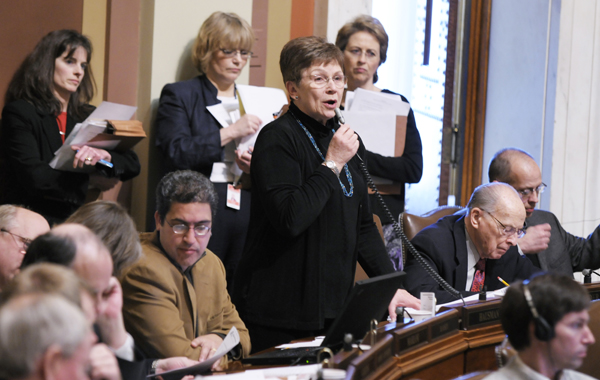 Rep. Alice Hausman (DFL-St. Paul) explains the omnibus capital investment bill, which she sponsors, on the House floor April 6. (Photo by Tom Olmscheid)
