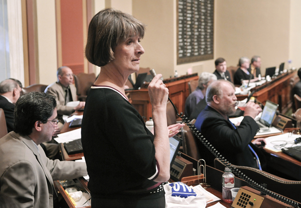 Rep. Mindy Greiling, chair of the House K-12 Education Finance Division, presents the omnibus K-12 education finance bill to the House April 23. (Photo by Tom Olmscheid)