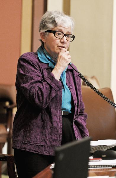 Sponsored by Rep. Phyllis Kahn, the omnibus state government finance bill would cut legislative spending and reduce appropriations to the state�s constitutional officers and state agancies. (Photo by Tom Olmscheid)