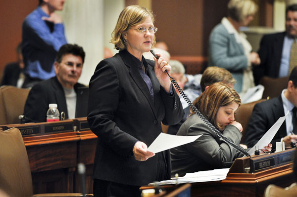 Rep. Debra Hilstrom walks legislators through the sections of the House omnibus public safety policy bill April 20. (Photo by Andrew VonBank)