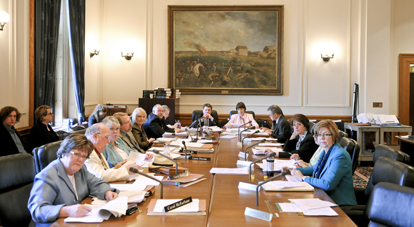 The omnibus higher education finance conference committee meets May 12. (Photo by Tom Olmscheid)