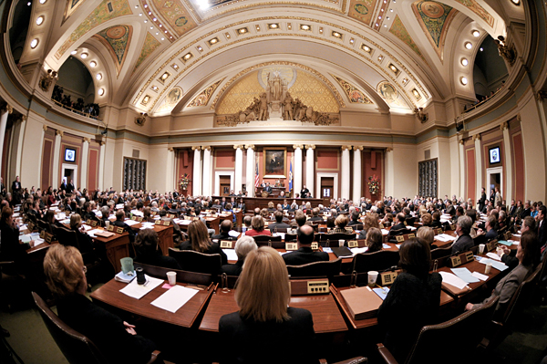 Gov. Tim Pawlenty delivers his State of the State address to the Legislature Jan. 15. (Photo by Tom Olmscheid)