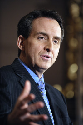 At a March 2 news conference, Gov. Tim Pawlenty said that additional revenues should be used to bolster the state's cash flow account in order to help avoid short-term borrowing as the Legislature works to balance the $994 million biennial budget deficit. (Photo by Tom Olmscheid)