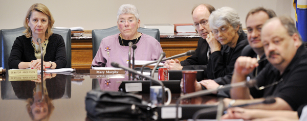 Sen. Ellen Anderson, from left, and Rep. Mary Murphy, co-chairs of the conference committee dealing with Legacy Funds, listen to testimony May 12 along with House conferees Rep. Will Morgan, Rep. Jean Wagenius, Rep. Rick Hansen and Rep. Greg Davids. (Photo by Tom Olmscheid)
