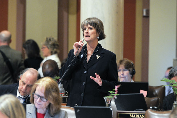 Rep. Mindy Greiling presents the omnibus K-12 education bill May 11 on the House floor. (Photo by Andrew VonBank)