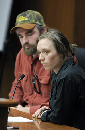 Matt Tyler, left, and Melinda Suelflow, ricing partners from Finland, testify before the House Environment, Energy and Natural Resources Policy and Finance Committee March 22 on wild rice standards. (Photo by Andrew VonBank)