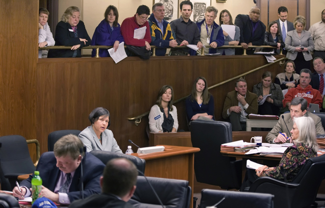 "Education Commissioner Brenda Cassellius testifies before the House Education Finance Committee March 21 on the possible effects of the committee's omnibus bill saying, ""This bill creates winners and losers by capping special education revenue; eliminating integration aid; and increasing property taxes in cities of the first class."" (Photo by Tom Olmscheid)"