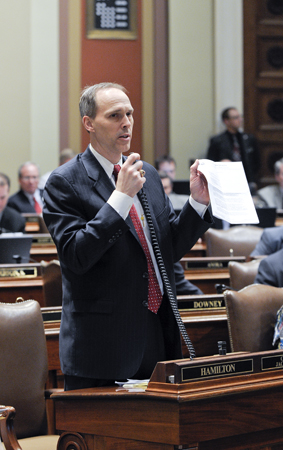 Rep. Rod Hamilton has the last word on the House floor before final passage of the omnibus agriculture and rural development finance bill March 30. (Photo by Andrew VonBank)