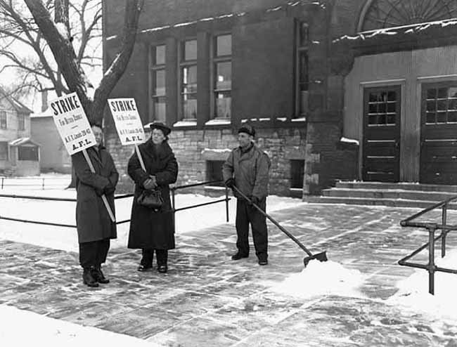 The 1946 St. Paul teachers strike lasted five weeks from Nov. 25 to Dec. 27, during a particularly cold winter. (Courtesy: Minnesota Historical Society)