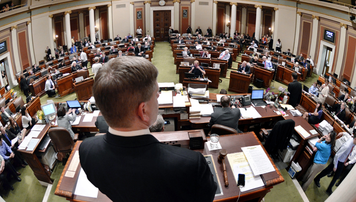 House Speaker Kurt Zellers recognizes Rep. Kim Norton so she can ask a question of Rep. Dean Urdahl during the May 23 floor debate of the Legacy Funding Conference Committee report. (Photo by Tom Olmscheid)