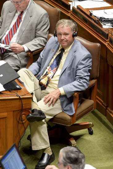 Rep. Dean Urdahl listens to debate on the Legacy funding law during the July 19 special session. (Photo by Andrew VonBank)