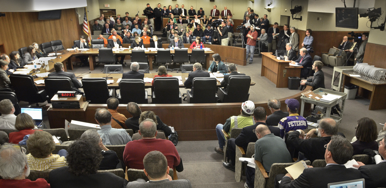 It was standing room only at the House Government Operations and Elections Committee  April 16 as members take up the Vikings stadium bill. (Photo by Andrew VonBank)