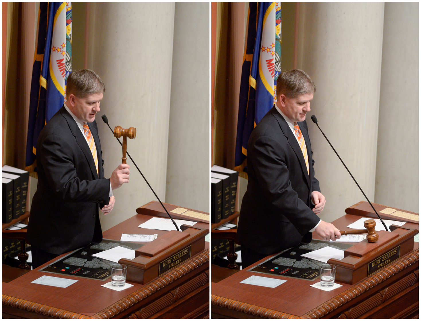 House Speaker Kurt Zellers adjourns the House sine die with the last gavel of the 2012 legislative session. (Photo by Andrew VonBank)