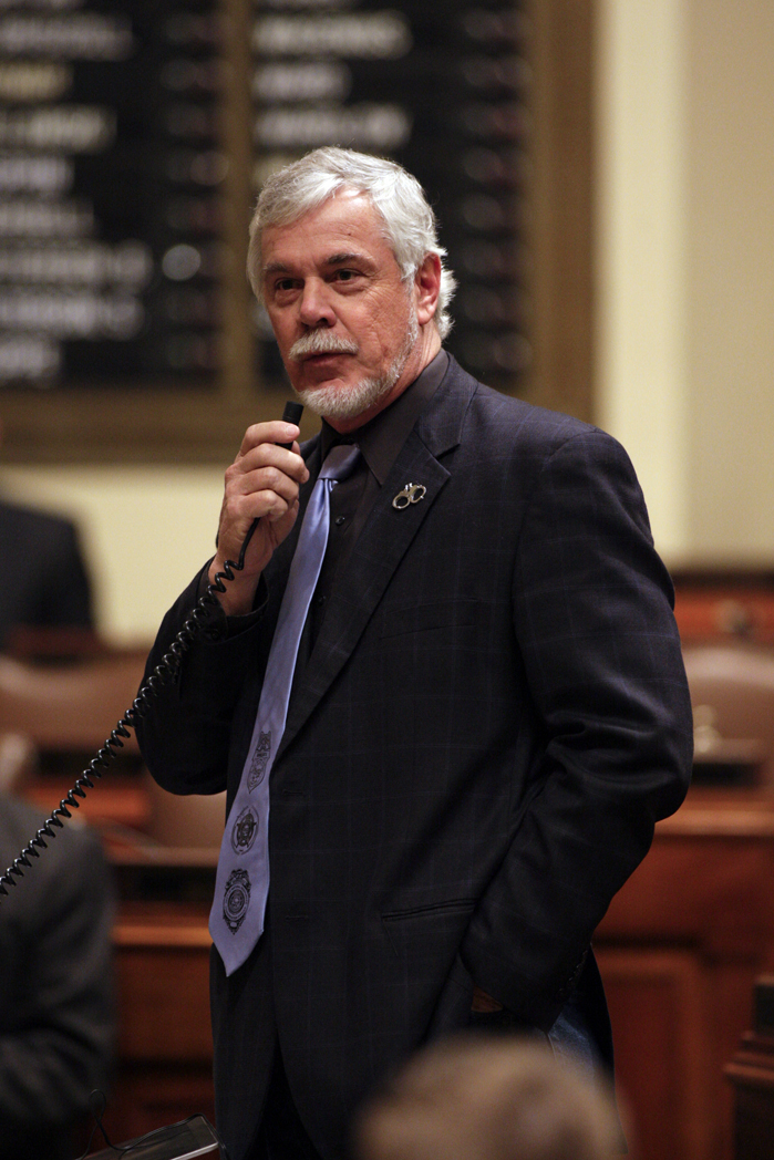 Rep. Tony Cornish explains a Senate amendment to HF1467, a bill that would, in part, change state law governing the use of force in self defense. The House repassed the bill 85-47 Feb. 29. (Photo by Paul Battaglia)