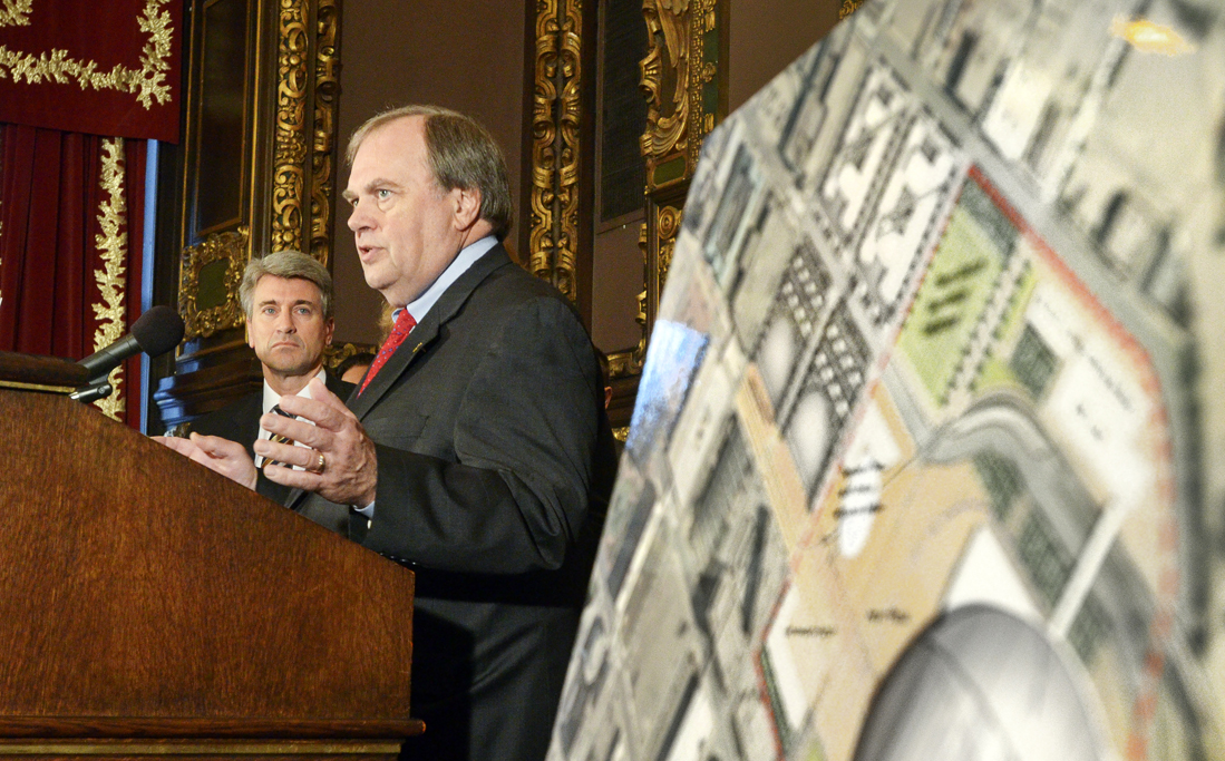 Rep. Morrie Lanning, the lead House negotiator, speaks at a March 1 press conference unveiling a new stadium plan for the Minnesota Vikings. (Photo by Andrew VonBank)