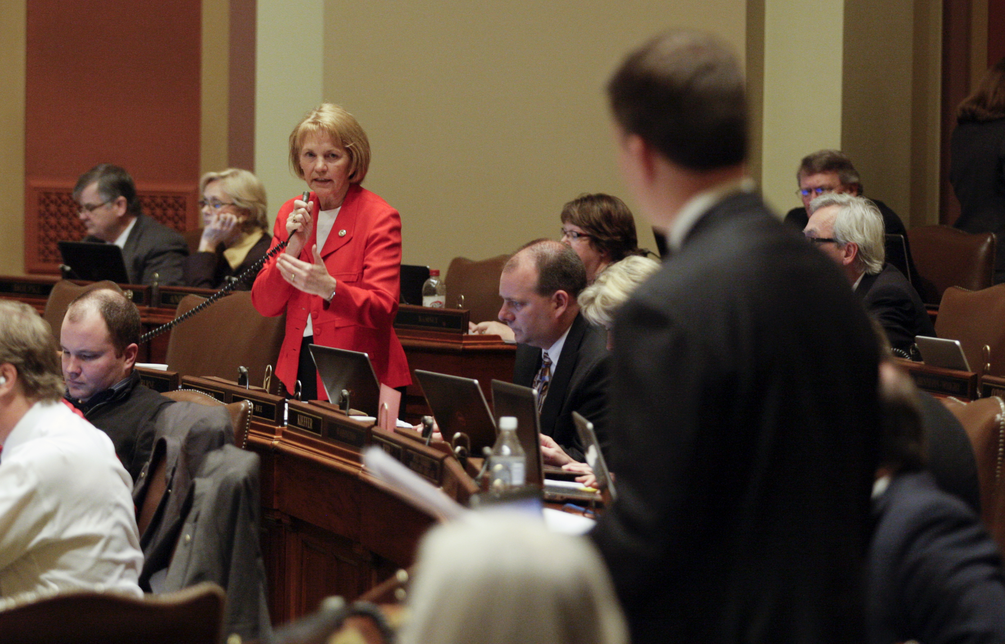 Rep. Mary Kiffmeyer responds to a question from Rep. Ryan Winkler during March 20 debate on her bill that proposes amending the state constitution to require voters to show a government-issued photo ID card at their polling place on Election Day. (Photo by Paul Battaglia)